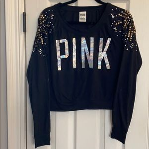 Black Crop Top With Studded Jewels